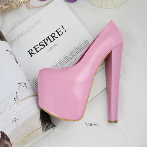 Light Pink Patent Hidden Platform Pumps - Tajna Club