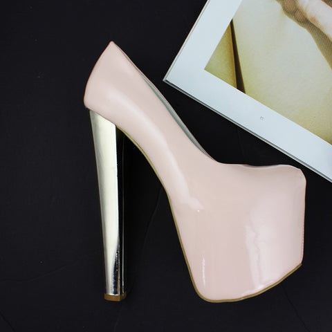 Powder Pink Patent Platform Shoes - Tajna Club