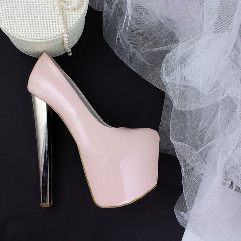 Light Powder Pink Silver Thick Heels - Tajna Club
