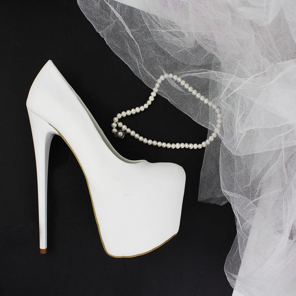 White  Hidden Platform Pumps - Tajna Club
