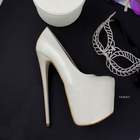 Cream Patent Platform Pumps - Tajna Club