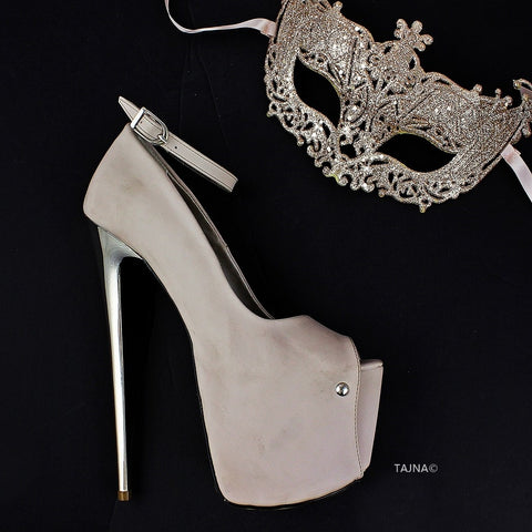 Beige Suede Metallic Heel Platforms - Tajna Club