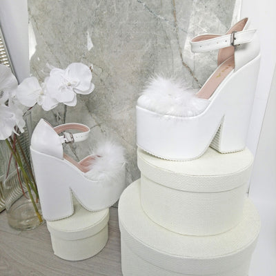 Closed Toe Fury High Heel Bridal Wedges - Tajna Club