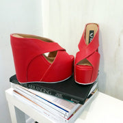 Red Cross High Heel Wedge Platform Mules - Tajna Club