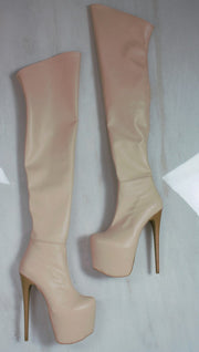 Cream Nude Knee High Platform Boots - Tajna Club