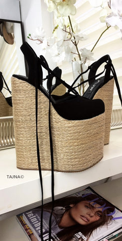 Black Lace Up High Heel Wedge Sandals - Tajna Club