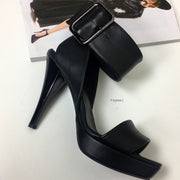 Black Bold Belted Heeled Shoes 13 cm - Tajna Club