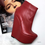 Red Ankle 17 cm Wedge Booties - Tajna Club