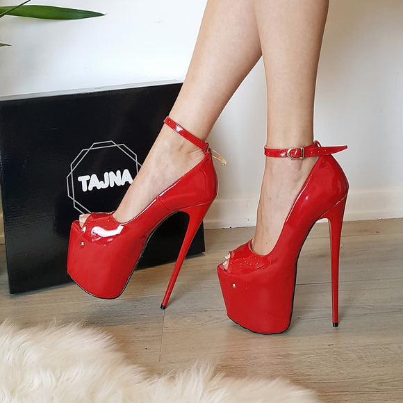 Red Patent Leather Pump High Heel Platform Shoes - Tajna Club