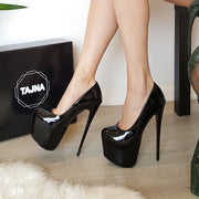 Black Patent Leather Pump High Heel Platform Shoes - Tajna Club