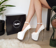 White Patent Leather Pump High Heel Platform Shoes - Tajna Club