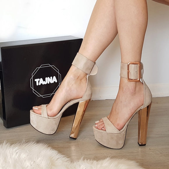 Nude Beige Big Belted High Heel Platform Sandals - Tajna Club