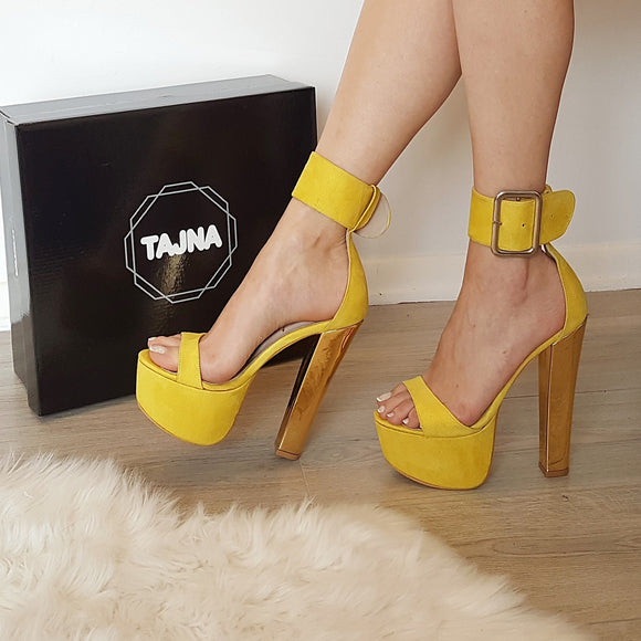 Yellow Big Belted High Heel Platform Sandals - Tajna Club