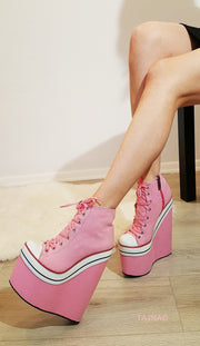 Pink Lace Up Sport High Heel Wedge Platform Booties - Tajna Club