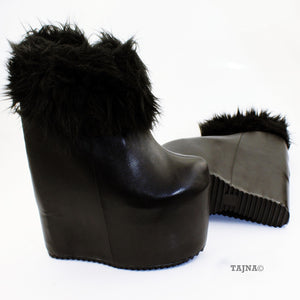 Black Fur Platform Hidden Platform Wedge Boots - Tajna Club