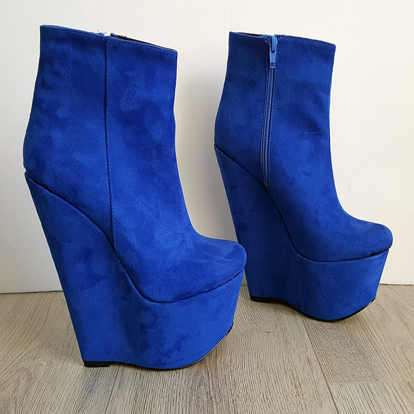 Parlament Blue Ankle 17 cm Heel Wedge Booties - Tajna Club