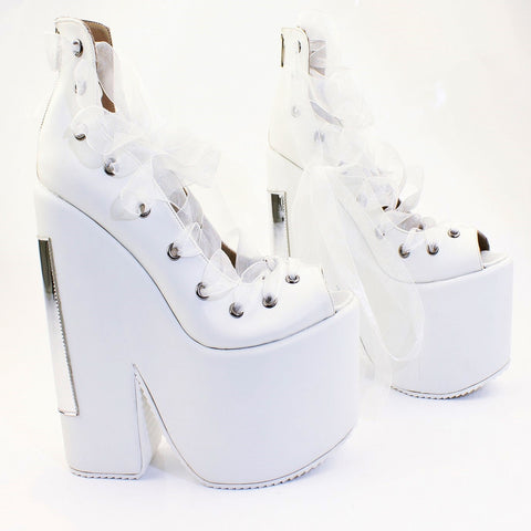 Lace Up White Balerinas Platform Wedge Shoes - Tajna Club