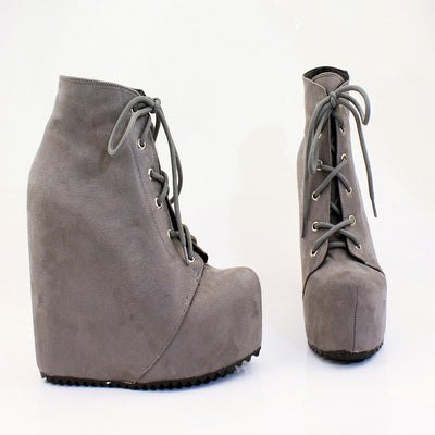Gray Faux Suede Lace Up Platform Wegdes - Tajna Club