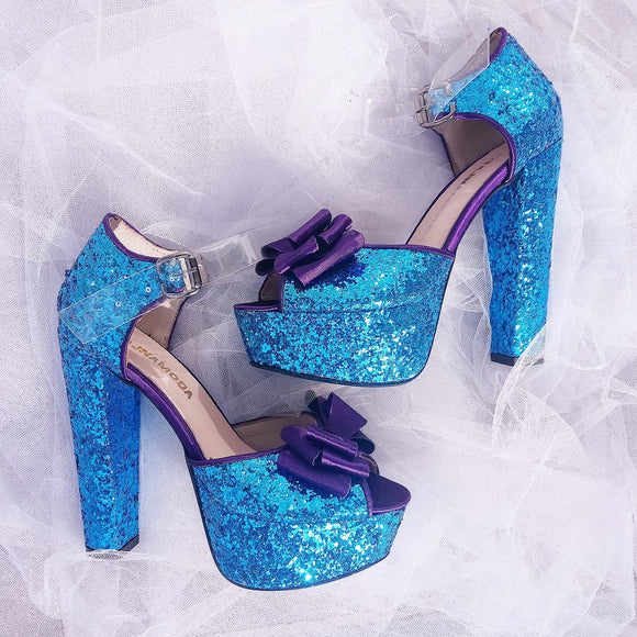 Blue Glitter Heel Platform Shoes - Tajna Club