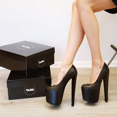 Black Matte Hidden Platform Pumps - Tajna Club