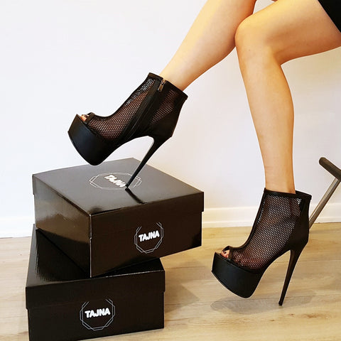 Black Fishnet Platform Booties - Tajna Club
