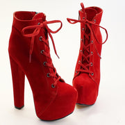 Red Suede Lace Up Booties - Tajna Club
