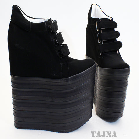 Nubuck Hook Pile Sport High Heel Wedge Platform Shoes - Tajna Club