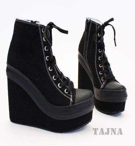 Black Flax Lace Up Sport High Heel Wedge Platform Booties - Tajna Club
