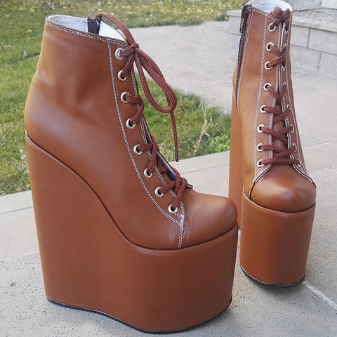 Light Brown Wedge Booties 19 cm - Tajna Club