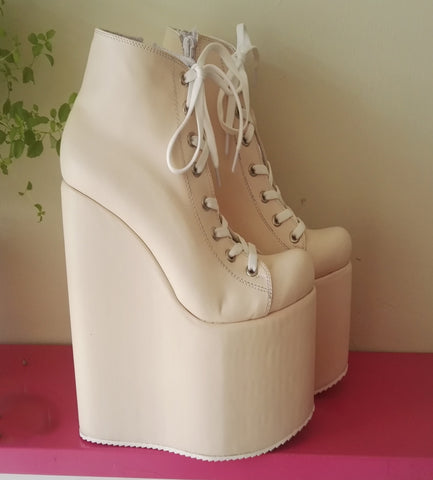 Cream Lace Up Platform Wedges 20 cm - Tajna Club