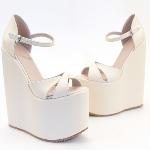Cream Cross Strap High Heel Wedge Platform Shoes - Tajna Club