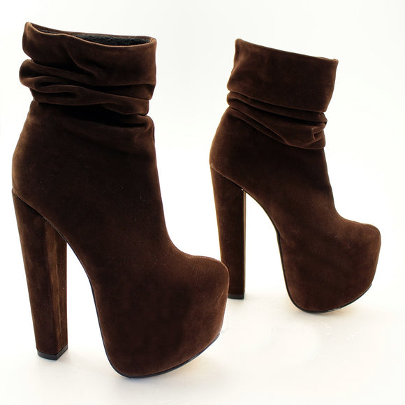 Brown Velvet Suede Platform Ankle Booties - Tajna Club