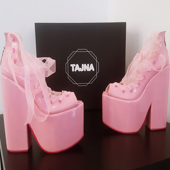 Lace Up Light Pink Balerinas Platform Wedge Shoes - Tajna Club