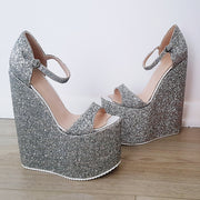 Silver Glitter Strap High Platform Wedge Shoes - Tajna Club