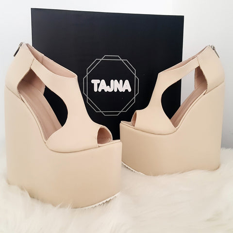 Peep Toe Cream Slit Side High Platform Wedge Shoes - Tajna Club