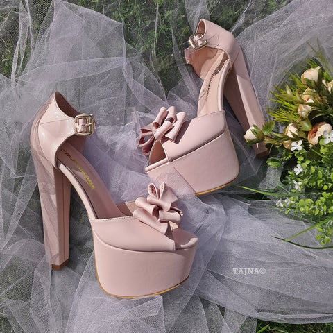 Powder Ribbon High Heel Platforms - Tajna Club