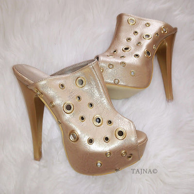 Golden Peep-Toe Platform Mules - Tajna Club