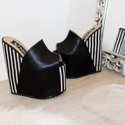 White Black Stripe Peep Toe Wedge Mules - Tajna Club