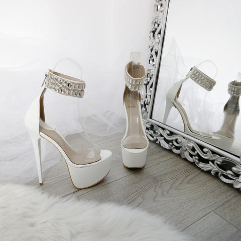 Gem Stone High Heel Platform Shoes - Tajna Club