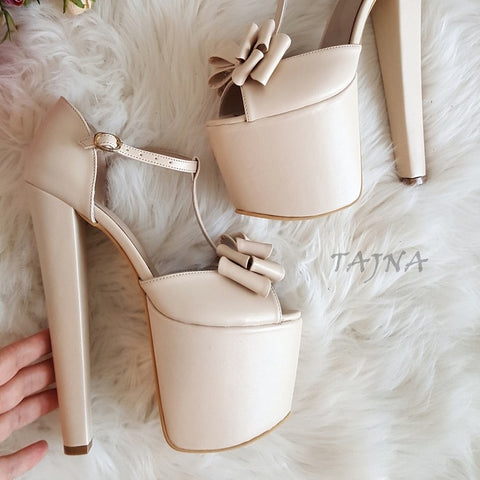 Cream Ribbon Platform Bridal Shoes - Tajna Club