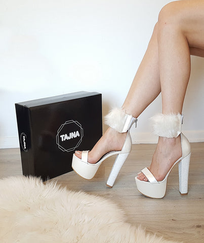 White Furry Ankle Strap Platform Shoes - Tajna Club