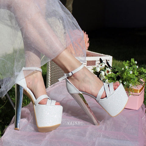 Cross Strap White Silver Shimmer Bridal Platform Shoes - Tajna Club