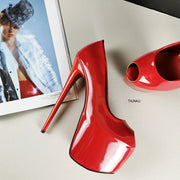 Red Patent Fishmouth High Heels - Tajna Club