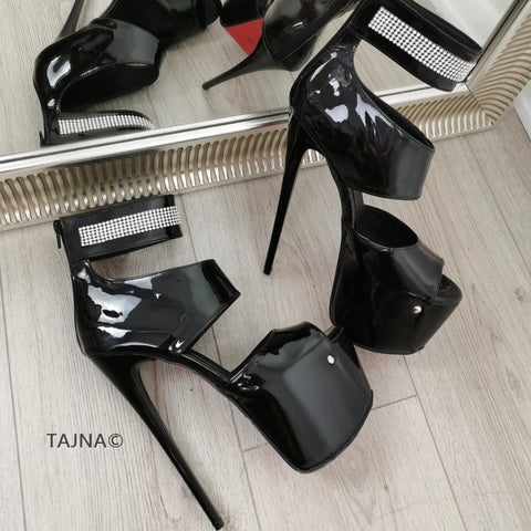 Black Patent Gemstone Ankle Heels - Tajna Club