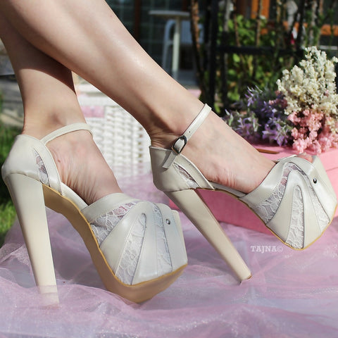 Ivory Lace 19 cm Platform Heel Wedding Shoes - Tajna Club