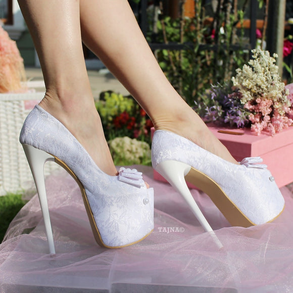 19 cm White Lace Platform Wedding Shoes - Tajna Club