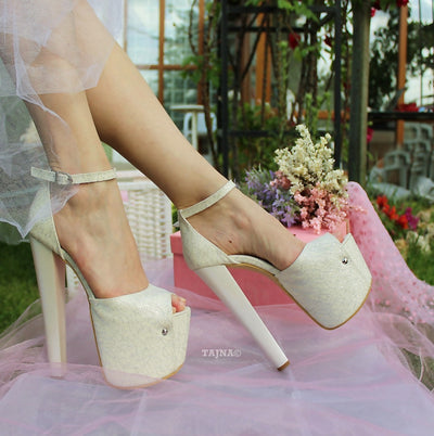 Ankle Strap 19 cm High Heel Wedding Shoes Ivory Lace - Tajna Club