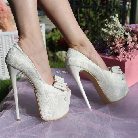 White Cream Lace Peep Toe High Heel Bridal Shoes with Ribbon - Tajna Club
