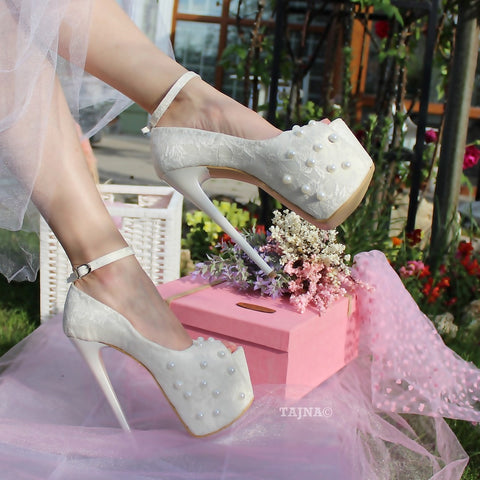 Cream White Lace with Pearl Platform Bridal Shoes - Tajna Club