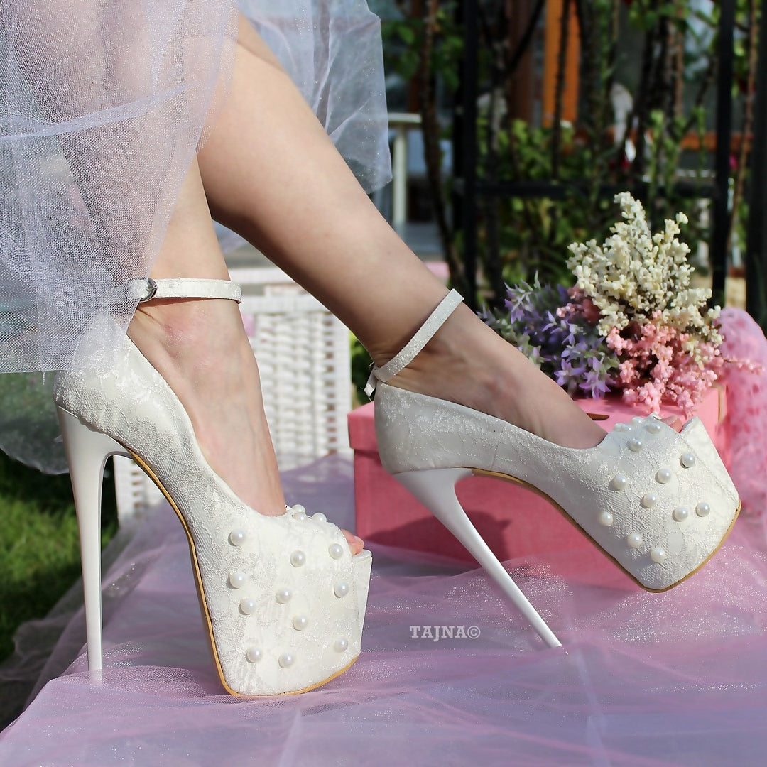2622ccd3549 Cream White Lace with Pearl Platform Bridal Shoes - Tajna Club ...